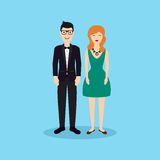 Business people - man and woman - dressed in suits in flat design Stock Photography