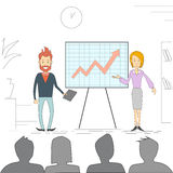Business People Man Woman Meeting Seminar Training Conference Businesspeople Group Brainstorming Presentation Financial. Chart Vector Illustration Stock Image