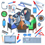 Business people, man, woman, phone, laptop, documents, watch. Set of  icons of office and business elements for web and mobile applications. Meeting business Stock Photo