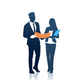 Business People Man And Woman Team Silhouette Businesspeople Couple Hold Document Folders Royalty Free Stock Photos
