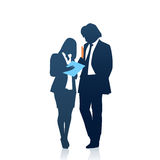 Business People Man And Woman Team Silhouette Businesspeople Couple Hold Document Folders Royalty Free Stock Photo