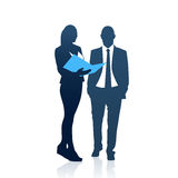 Business People Man And Woman Team Silhouette Businesspeople Couple Hold Document Folders Stock Photo