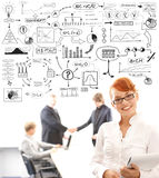 Business people and many business elements Royalty Free Stock Photo