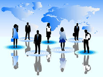 Business people and map. Illustration of business people and map Royalty Free Stock Photo