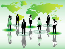 Business people and map. Illustration of business people and map Royalty Free Stock Photos