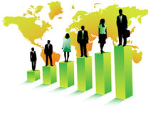 Business people and map. Illustration of business people and map, green Royalty Free Stock Image