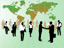 Business people and map. Illustration of business people and map, green Royalty Free Stock Photos