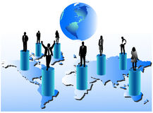 Business people and map. Illustration of business people and world Royalty Free Stock Photography