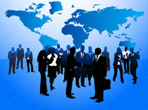 Business people and map. Illustration of business people and map Stock Photos