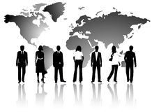 Business people and map Stock Photography
