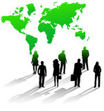 Business people and map. Illustration of people, map and shadows Royalty Free Stock Photography