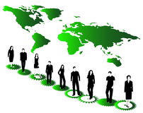 Business people, map and cogwheels Royalty Free Stock Image