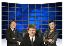 Business people and map earth back Stock Photos
