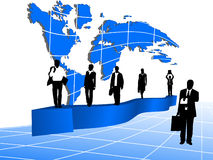 Business people, map and graph Stock Photos