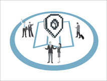 Business people with map and marker vector Stock Photo