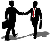 Business people meet to make deal. Business people walk to meet shake hands and team up on partnership merger deal Royalty Free Stock Images