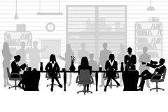 Business people during a meeting. Easy to edit vector illustration of business people during a meeting sitting around a table royalty free illustration
