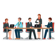 Business people meeting at a big conference desk. Business people meeting at a big conference desk, teamwork or brainstorming isolated on white background royalty free illustration