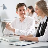 Business people at a meeting stock images