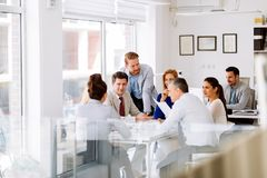 Business people meeting. And a busy day at the office stock photos