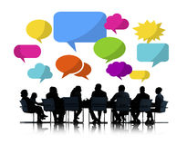 Business People Meeting with Colorful Speech Bubbles Royalty Free Stock Image