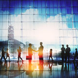 Business People Meeting Commuter Greeting Handshake Concept Royalty Free Stock Images