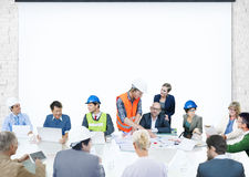 Business People Meeting Corporate Presentation Architect Design Stock Photo