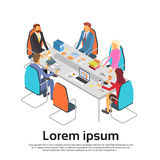 Business People Meeting Discussing Office Desk Businesspeople Working Copy Space 3d Isometric. Vector Illustration Royalty Free Stock Photography