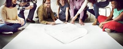 Business People Meeting Discussion Blueprint Architect Concept Royalty Free Stock Photography