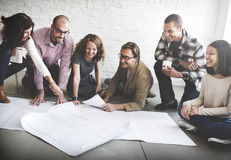 Business People Meeting Discussion Blueprint Architect Concept Stock Images