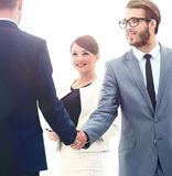 Business People Meeting Discussion Corporate Handshake Concept. Image of business partners handshaking after signing contract Stock Photos