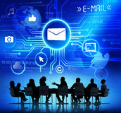 Business People in a Meeting and E-Mail Concepts.  Royalty Free Stock Photo