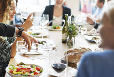 Business People Meeting Eating Discussion Cuisine Party Concept Stock Images