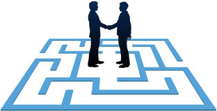 Business people meeting find maze solution. Two business people find a solution to problems and make an agreement in a maze Stock Photography