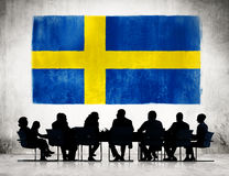 Business People Meeting with the Flag of Sweden Royalty Free Stock Images
