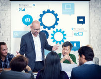 Business People Meeting with Gears Symbol Stock Photography