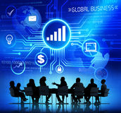 Business People in a Meeting and Global Business Royalty Free Stock Image