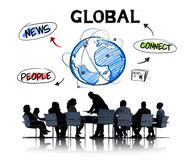 Business People in a Meeting and Global Network Concepts Royalty Free Stock Image
