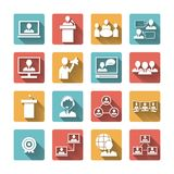 Business People Meeting Icons Set Stock Images
