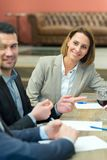 Business people meeting in modern restaurant stock image