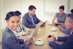 Business people in meeting with new technologies Stock Photos