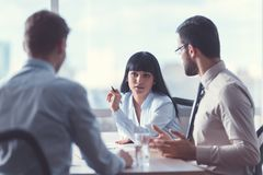 Business people at a meeting royalty free stock image