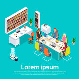 Business People Meeting Office Desk. Businesspeople Working 3d Isometric Vector Illustration Stock Photos