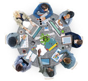 Business People Meeting Photo Illustration. Group of Business People Meeting in Photo and Illustration royalty free stock image