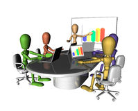 Business people meeting presentation. A group of multicoloured figures at a business meeting. One is presenting at the front of the room.3D objects created Royalty Free Stock Photos