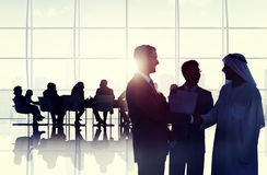 Business People Meeting Room Handshake Global Communication Conc Royalty Free Stock Photos