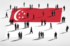 Business People in a Meeting with Singapore Flag Royalty Free Stock Photography