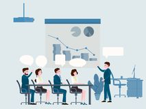 Presentation of the project, business people meeting, teamwork or brainstorming with speach bubbles. Man speaks before. Business people meeting, teamwork or stock illustration