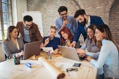 Free Business People Meeting To Discuss Ideas In Modern Office. Royalty Free Stock Photography - 130249807