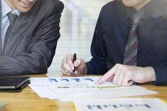 Business people meeting to discuss the situation. Business people meeting to discuss the situation on the marketing in meeting room office royalty free stock images